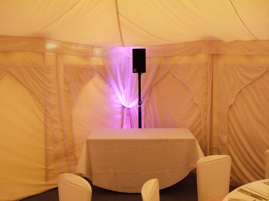 marquee wedding speeches PA system